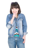 Casual woman. Young adult woman over white background Stock Photos