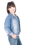 Casual woman. Young adult woman over white background Royalty Free Stock Images