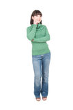 Casual woman. Young adult woman over white background Stock Photography