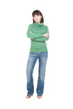 Casual woman. Young adult woman over white background Royalty Free Stock Photo