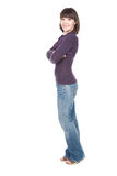 Casual woman. Young adult brunette woman over white background Stock Image