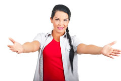 Casual woman with arms open. To you invite you to come to her  isolated on white background.Check also Facial expressions and gesture Royalty Free Stock Images