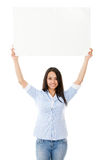 Casual woman with a banner Royalty Free Stock Images