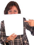 Casual woman - Banner add. Casual woman displaying a banner add isolated over a white background Stock Image