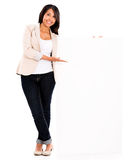 Casual woman with a banner Stock Photography