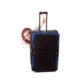 Casual woman with the big travel suitcase Royalty Free Stock Photos