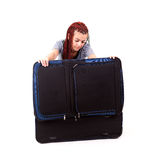 Casual woman with the big travel suitcase Stock Photography
