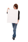Casual woman with blank board Royalty Free Stock Images