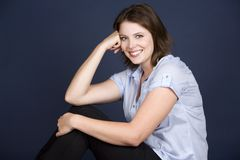 Casual woman in blue Stock Photo