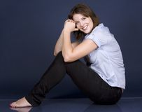 Casual woman in blue Royalty Free Stock Photo