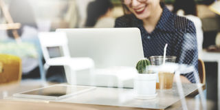 Casual Woman Cafe Social Media Relax Concept Stock Image