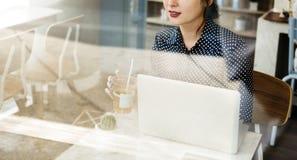 Casual Woman Cafe Social Media Relax Concept Royalty Free Stock Photos