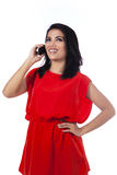 Casual woman calling on mobile phone royalty free stock photo