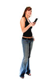 Casual Woman With Cell Phone Royalty Free Stock Photos