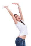 Casual woman cheering Royalty Free Stock Photos