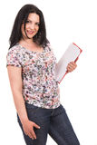 Casual woman with clipboard Royalty Free Stock Photos