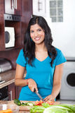 Casual woman cooking Royalty Free Stock Images