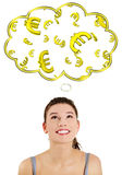 Casual woman daydreaming about euro (ern or win). Casual caucasian woman daydreaming about euro (ern or win). Isolated on white background Royalty Free Stock Image