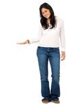 Casual woman display Royalty Free Stock Images