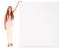 Casual woman with a banner Royalty Free Stock Photo