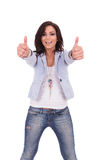 Casual woman double thumbs up Royalty Free Stock Photos