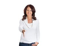 Casual woman extending arm for handshake Royalty Free Stock Images
