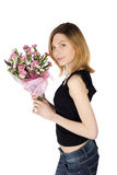 Casual Woman with Flowers Royalty Free Stock Photography