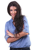 Casual woman with folded arms Royalty Free Stock Image
