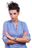 Casual woman with folded hands Stock Images