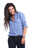 Casual woman with a hand in her back pocket Stock Photography