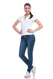 Casual woman hands on hips Royalty Free Stock Image