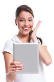 Casual woman happy with tablet Royalty Free Stock Photo