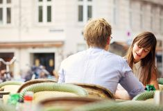 Casual Woman Having a Conversation with Her Date Royalty Free Stock Photo