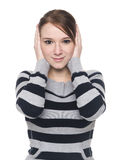 Casual woman - hear no evil Stock Photos