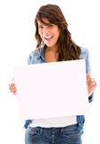 Casual woman holding banner Stock Photos