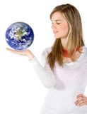 Casual woman holding earth Royalty Free Stock Photos