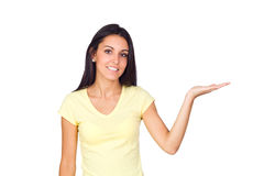 Casual Woman Holding an Imaginary Product Stock Photos