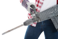 Casual woman holding jackhammer. Stock Photography