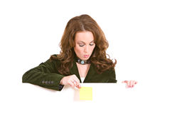 Casual: Woman Holding Sticky Note Over White Card Stock Images
