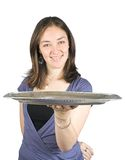 Casual woman holding a tray Stock Image
