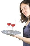 Casual woman holding a wine tray Stock Photo