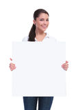 Casual woman holds a banner Stock Photography