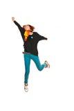 Casual woman jumping royalty free stock photos