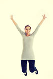 Casual woman jumping. Royalty Free Stock Photo
