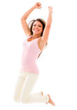 Casual woman jumping Royalty Free Stock Photography