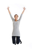 Casual woman jumping. Stock Photography