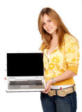 Casual woman with laptop Stock Images