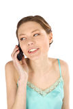 Casual Woman Listen on Cellphone Stock Image