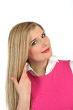 Casual woman with long healthy hair smiling Royalty Free Stock Photos