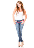 Casual woman looking happy Royalty Free Stock Images